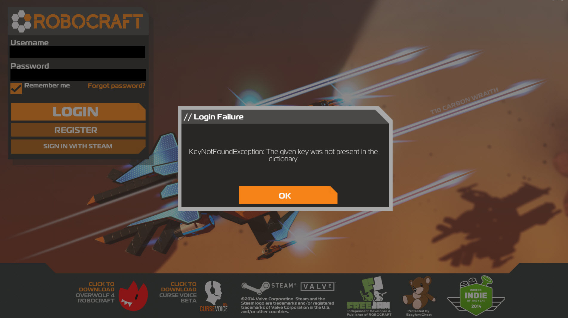 ROBOCRAFT | Topic: Login Failure with Robocraft and steam ...
